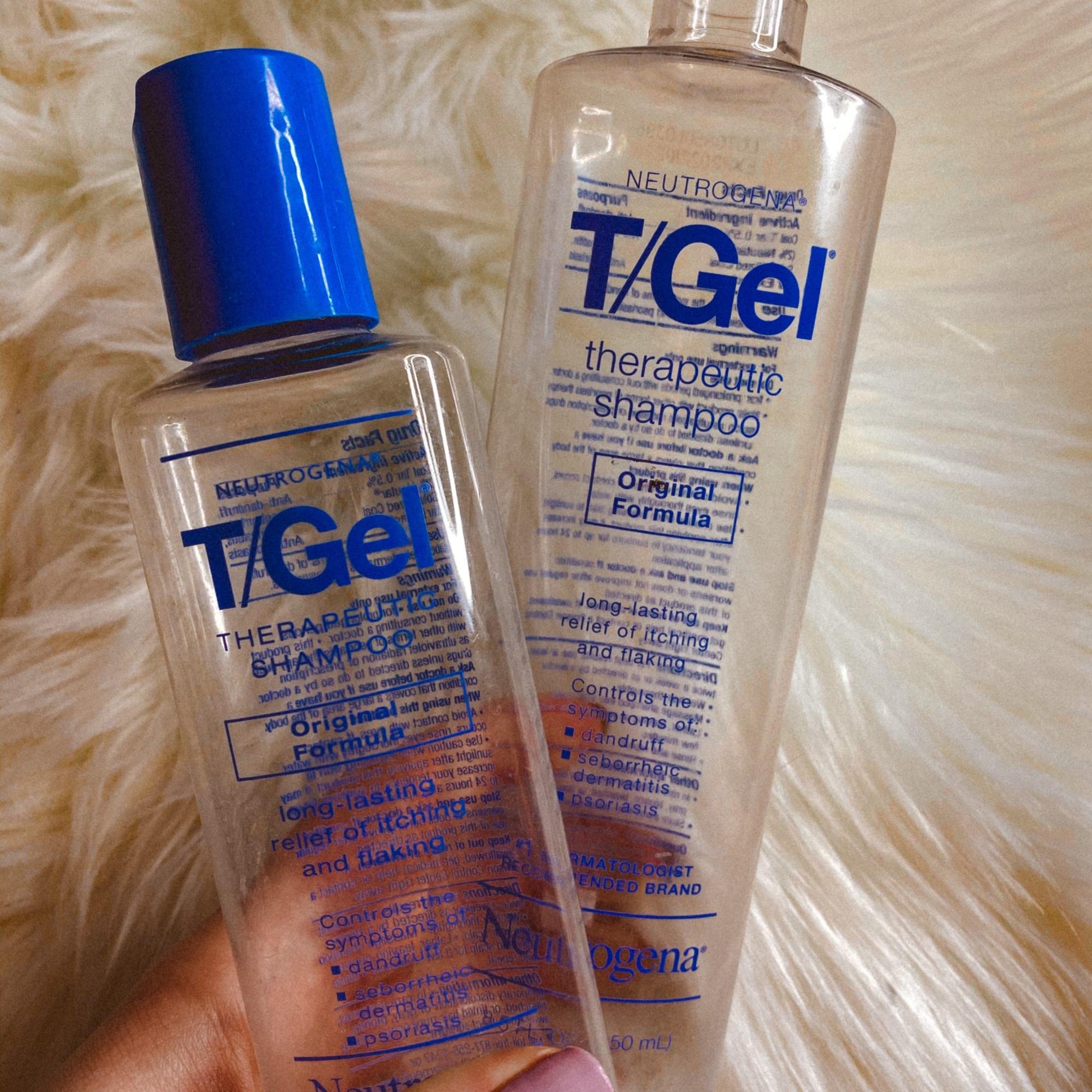 Two empty Neutrogena T-Gel Shampoo Bottles