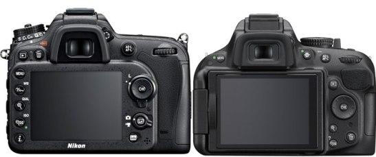 D7100 vs D5200 back