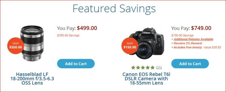 Discount on camera and lenses