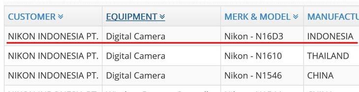 Nikon new camera registered at Indo