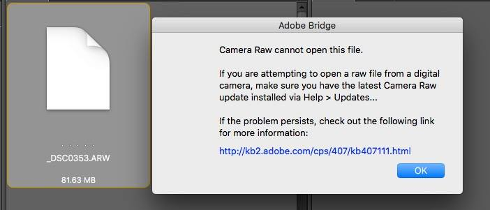 Adobe camera Raw issue