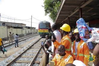 The Nsawam bound train leaving Accra