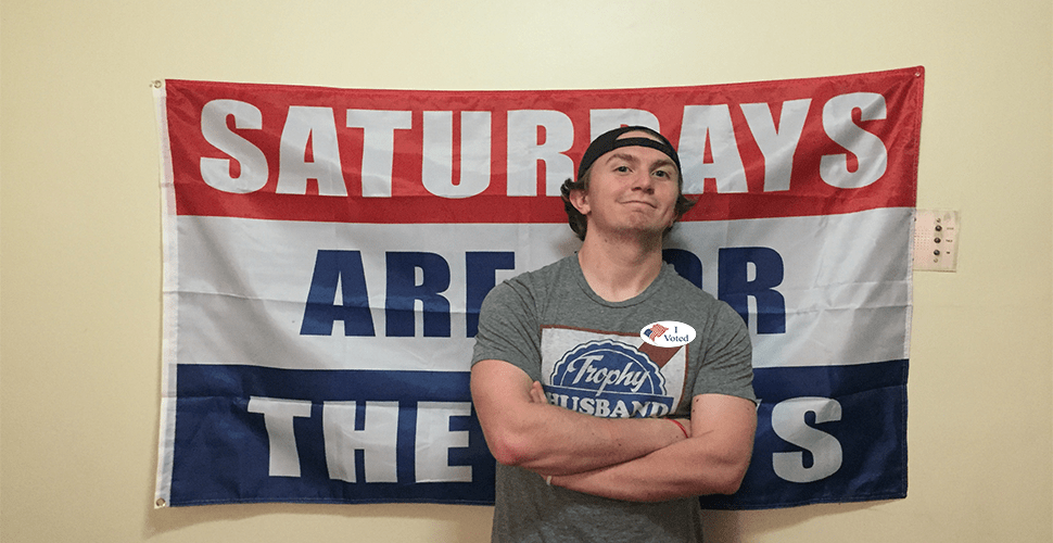 Yes, Student With Barstool Flag Is Voting In Midterms Too