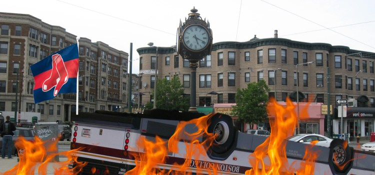 Comm. Ave Bus Flipped As Sox Fans Destroy City They Love