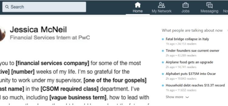 End-Of-Internship LinkedIn Post MadLibs