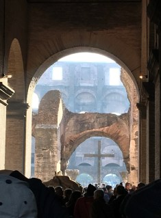 Looking through the Coliseum arches
