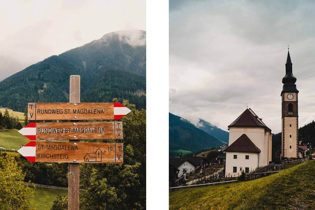 Panoramische bergroute naar st. Magdalena in de dolomieten