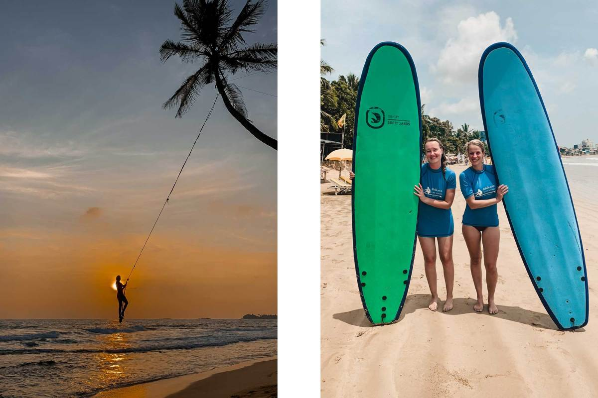 Surfen bij Unawatuna Sri Lanka