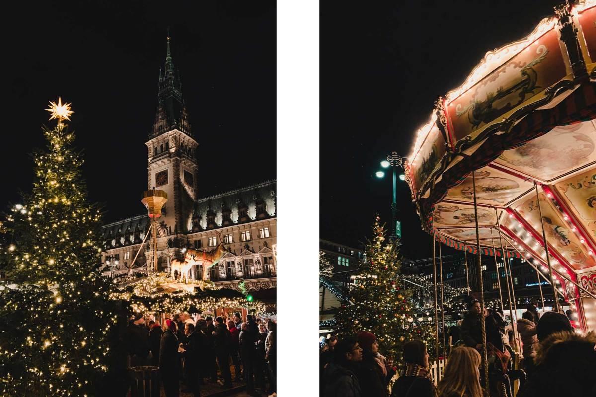 Kerstmarkt Rathaus plein Hamburg
