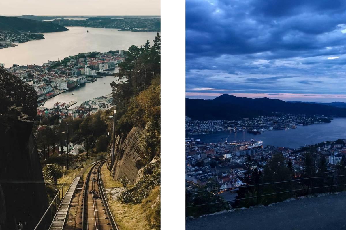 Beklim de Berg Fløyen in Bergen, Noorwegen