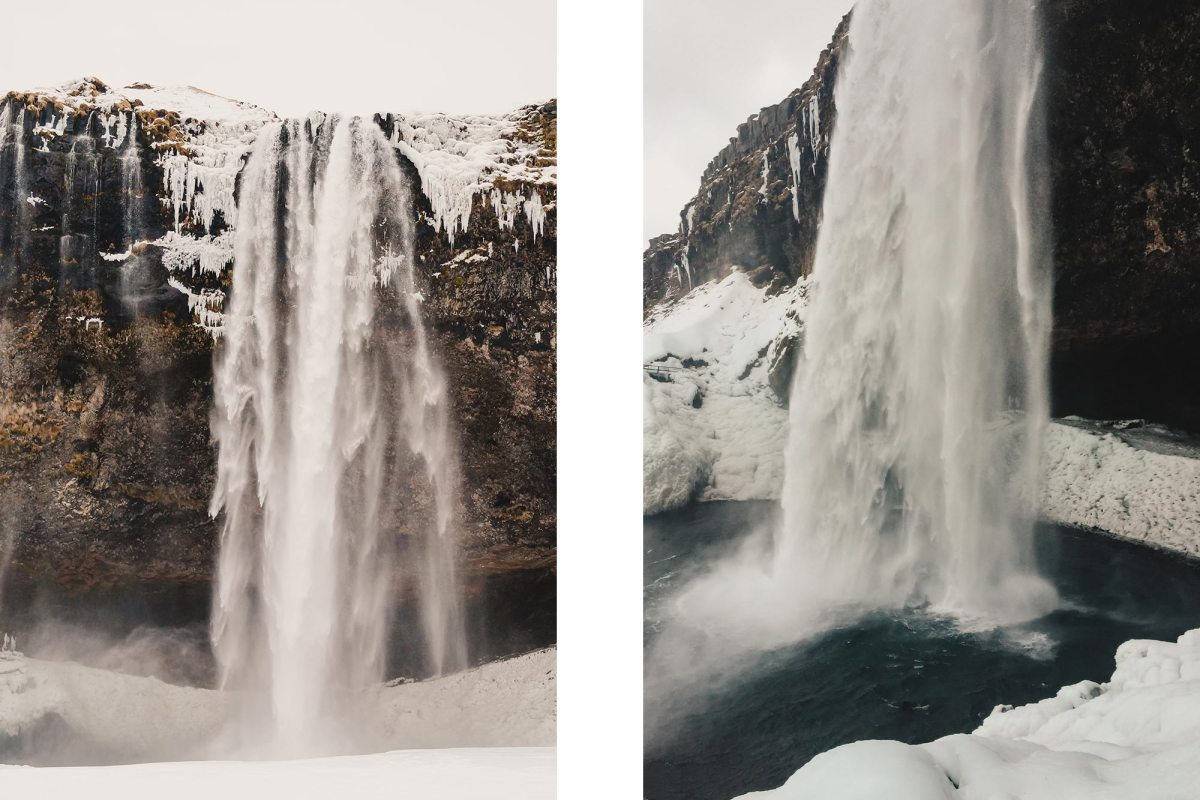 Seljalandsfoss waterval IJsland winter