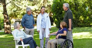 A lot of outdoor socialization in an assisted living home