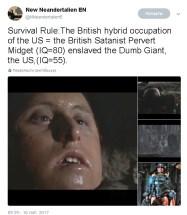Survival Rule:The British hybrid occupation of the US = the British Satanist Pervert Midget (IQ=80) enslaved the Dumb Giant, the US,(IQ=55).