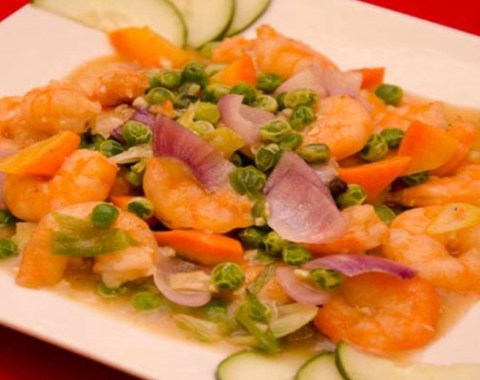 Shrimp w/ Green Peas