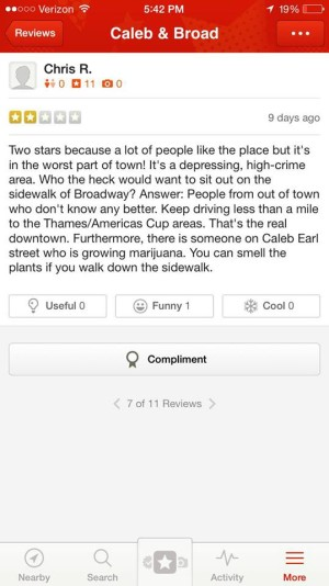 caleb yelp review