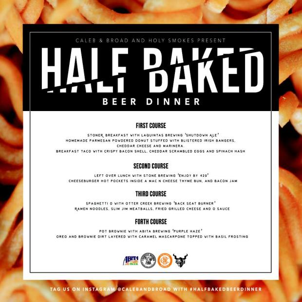 Half Baked Beer Dinner Menu