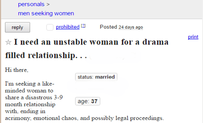 Man's Craigslist Personal Ad Accepts The Inevitable - The Newport Blast