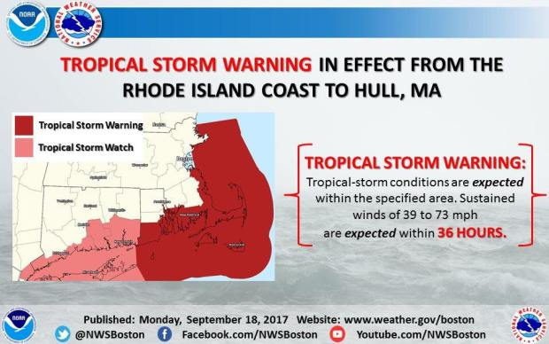 Tropical Storm Warning Issued For Newport County
