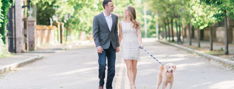 Morgan and Ben's Newport Engagement Shoot with their adorable puppy | The Newport Bride