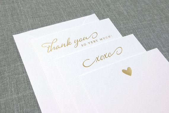 Gold Foil Pressed Note Cards on The Newport Bride's 12 Days of Christmas Sweepstakes