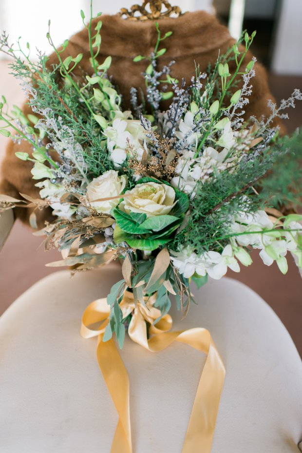 Greenery Bouquet from a Silver and Gold Christmas By The Sea at Hotel Viking Styled Shoot by The Newport Bride