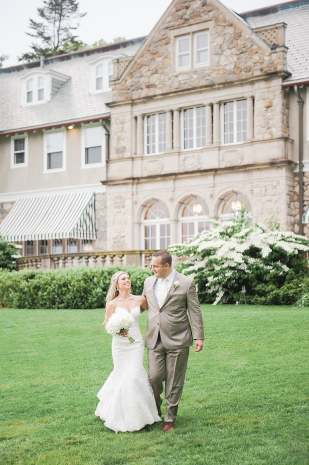 Summer Garden Wedding at a historic mansion in Bristol, RI on The Newport Bride