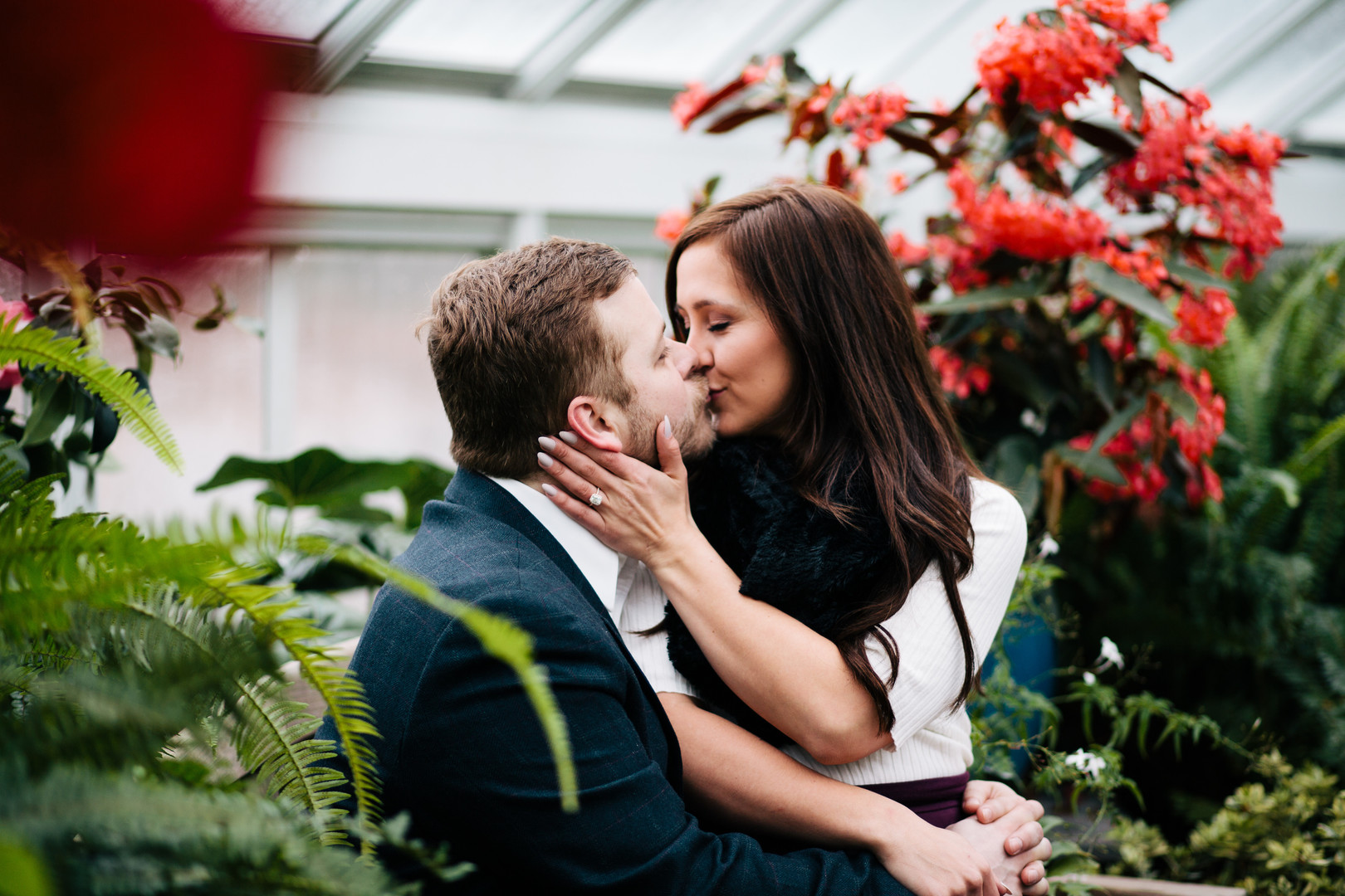 Justine and Brian's Winter Engagement Session at Blithewold Mansion and Gardens