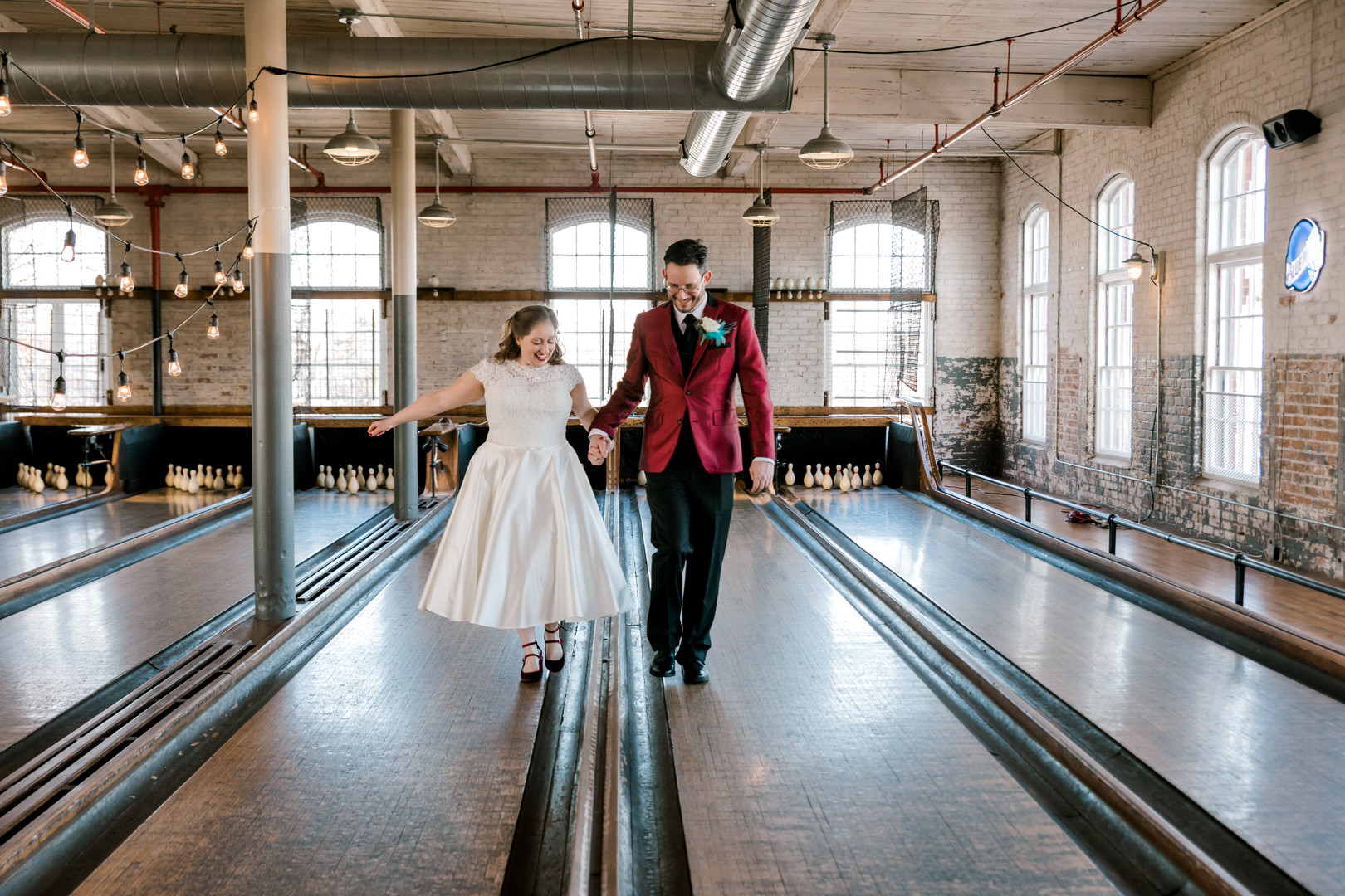 Sarah and James's Vintage Bowling Alley Wedding