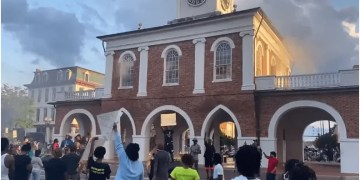 Protesters set fire to a former slave market and defaced Confederate statues this weekend.