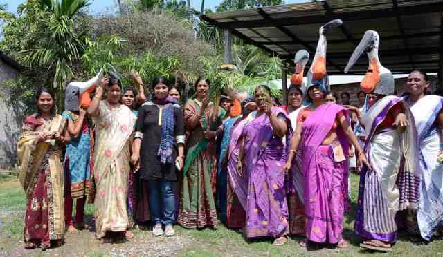 Purnima Devi Barman along with her team and villagers, in support of conservation of Greater Adjutant Stork