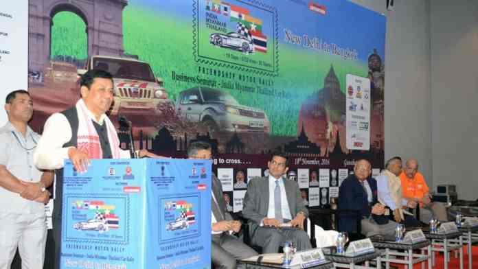 Assam chief minister Sarbananda Sonowal addressing the flag-off ceremony in Guwahati