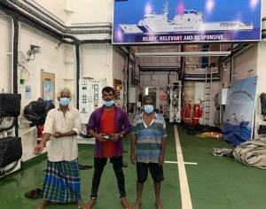 Indian Coast Guard rescues three stranded fishermen off Kannur