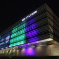 Hyundai US headquarters lit up to recognize the new partnership with the NFL
