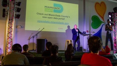 Miami-Dade Mayor Carlos Gimenez at the CodeAcross 2015 workshop.
