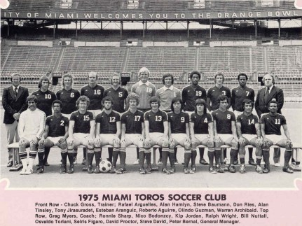 The 1975 Miami Toros — featuring Trinidadian MVPs Steve David and Warren Archibald. (nasljerseys.com photo)