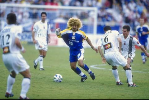 Colombian footballer Carlos Valderrama plays for the Miami Fusion - Valderrama played in more matches for his country than anyone else in Colombia's history. (pogmogoal.com photo)