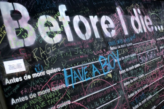 A public chalkboard art installation (Courtesy of The Awesome Foundation)