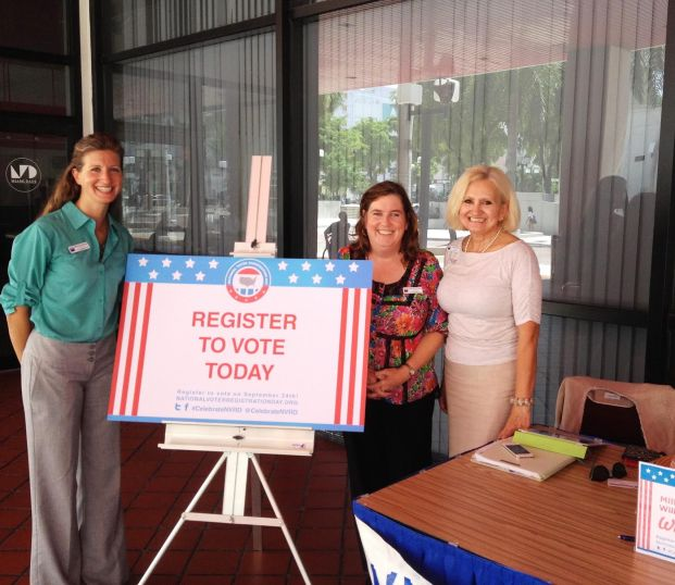 League of Women Voters voter registration day. (Courtesy of League of Women Voters)