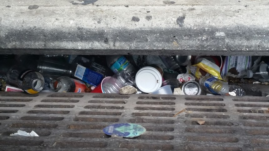 The storm drains in Miami Beach are sometime overflowing with garbage. (Courtesy Dave Doebler)
