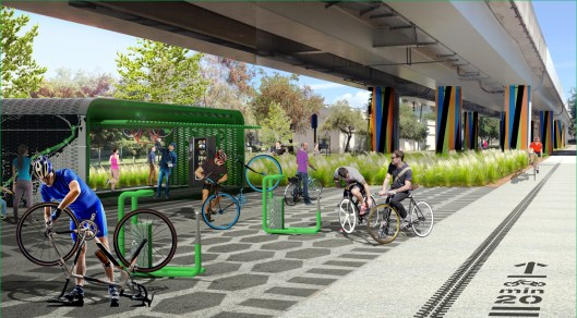 Cyclists and runners will be able to stop, tune-up, and exchange routes at the midpoint of the underline, near the Douglas road Metrorail station. (Courtesy of James Corner Field Operations and Friends of The Underline)