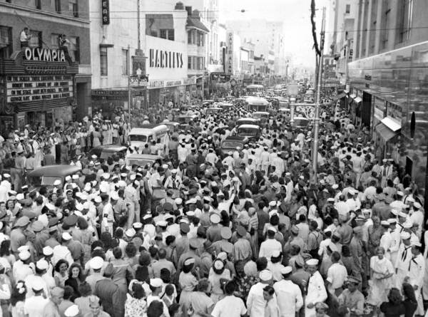 Flagler 20 minutes after the Japanese surrendered, marking the end of WWII. (Courtesy of State Archives of Florida, Florida Memory )