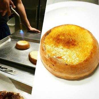 Pastry chef Max with a creme brûlée donut. (Courtesy of Justin Sherrer)