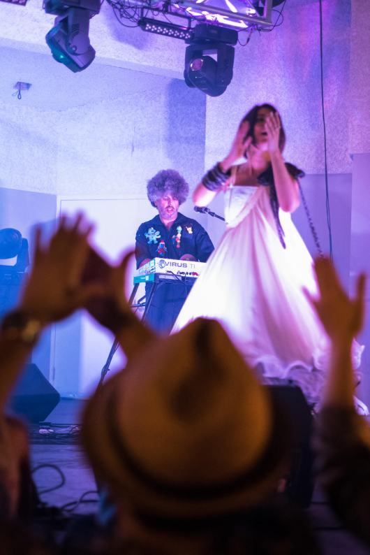 Cuci and Smurphio at their album launch at the North Beach Bandshell. (Courtesy of Oscar Robayna)