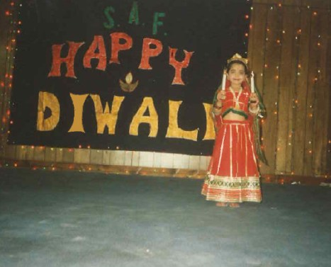 My sister performing at our annual Diwali celebration.