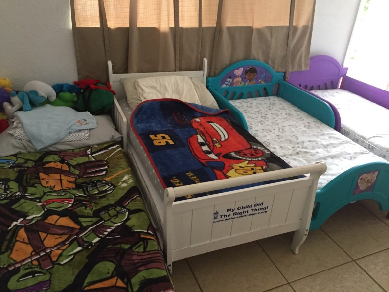 Children sleep in the living rooms of the apartments at Lotus House. (Courtesy of Nicole Martinez)