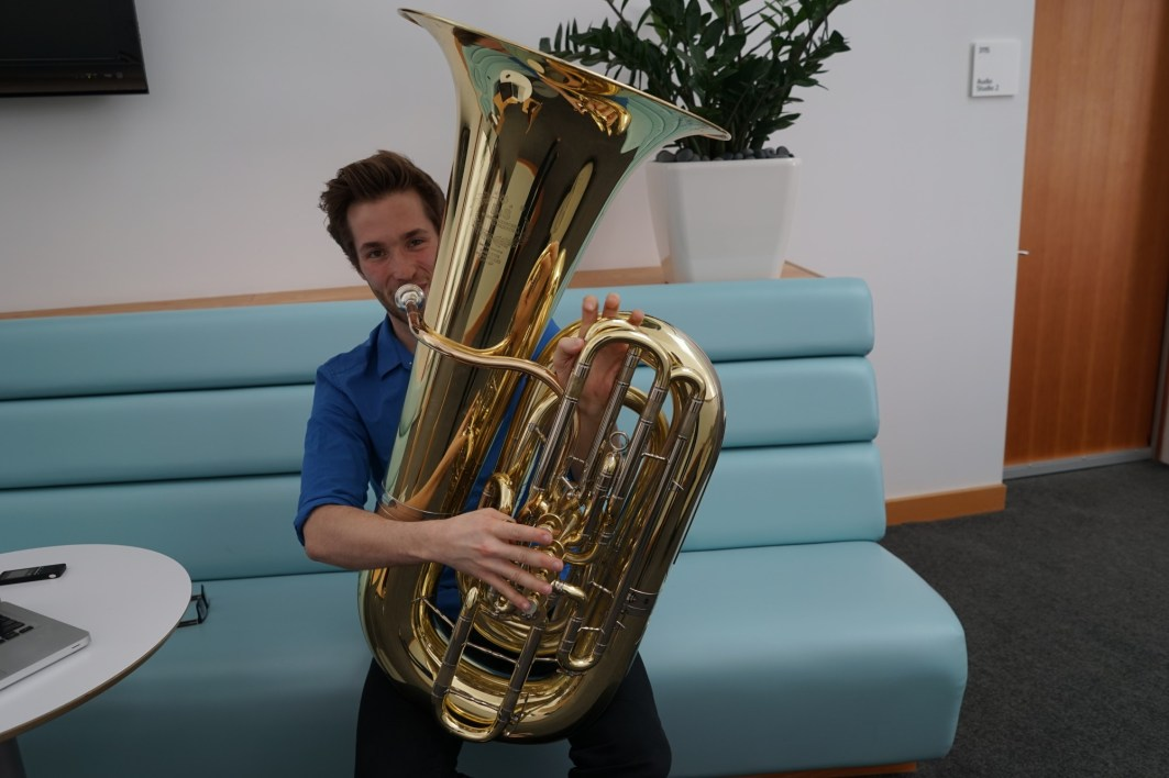 I used to be much bigger, so my music teacher told me that the tuba would be good for me.