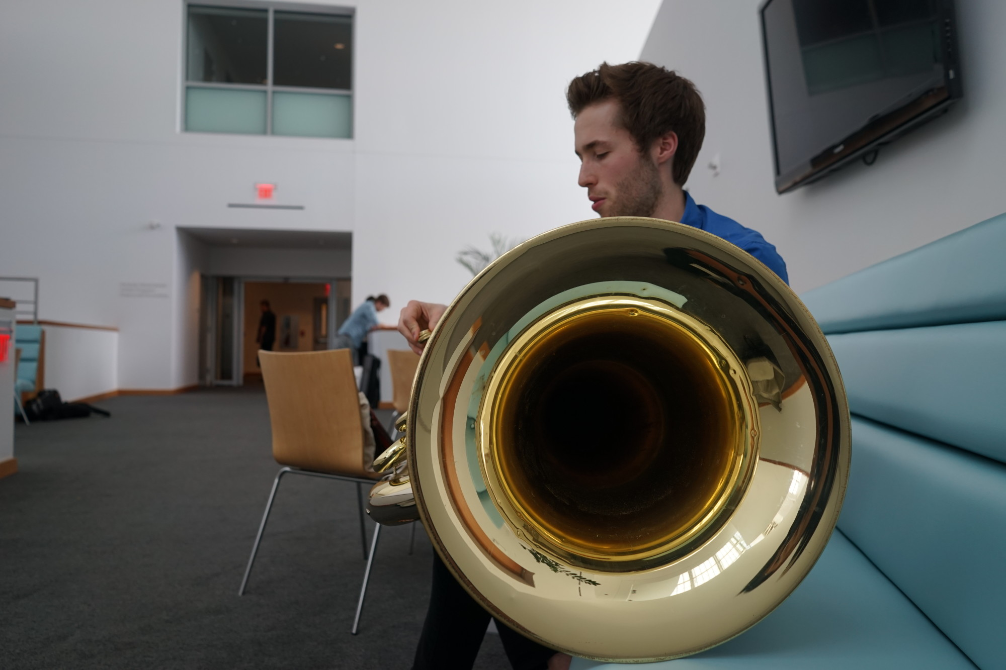 Playing the tuba takes a lot of air. Once I was in Colorado and I was playing and I wasn't used to the altitude and I almost passed out mid-performance.