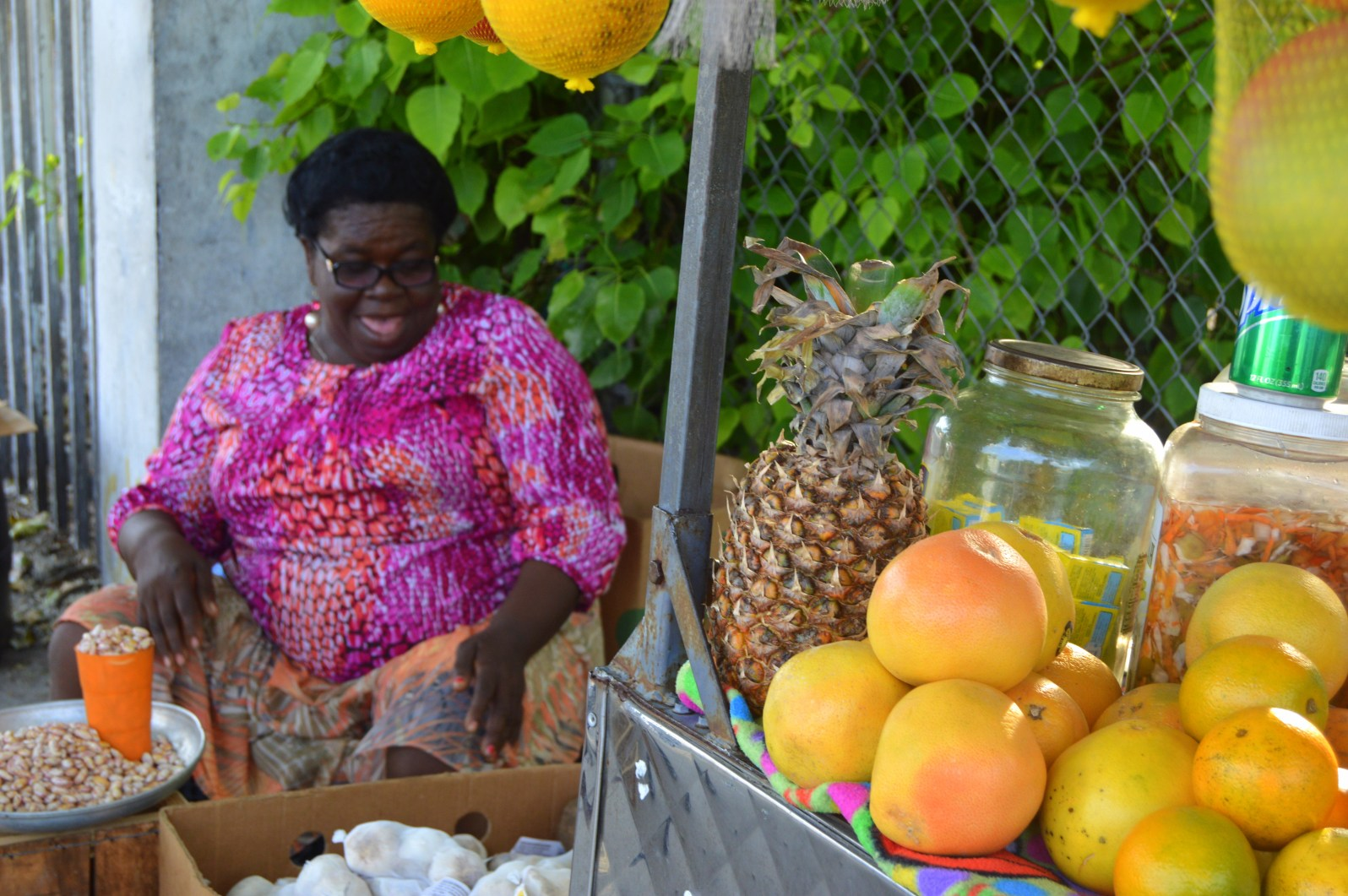 """Machand"" is the creole word for a seller or merchant. This is a fruit and vegetable stand on NE 2nd Ave."