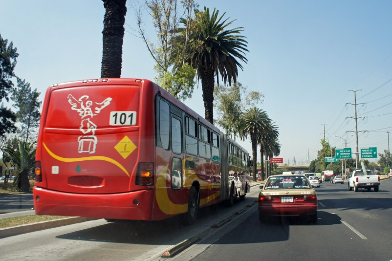 The Metrobús system in Mexico city also keeps traffic out of its dedicated lanes. (Courtesy of mariordo59/Flickr Commons)