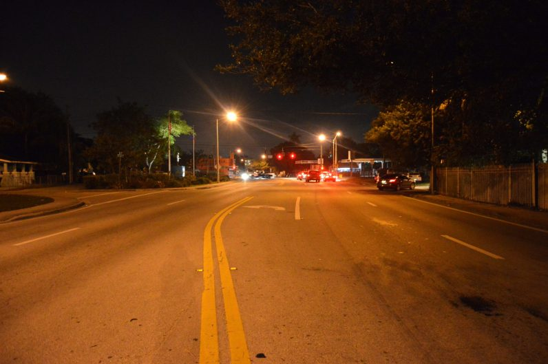 The streets of Little Haiti after dark.